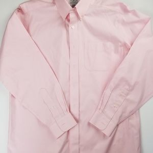 LL Bean Mens Pink Wrinkle Free Button Down